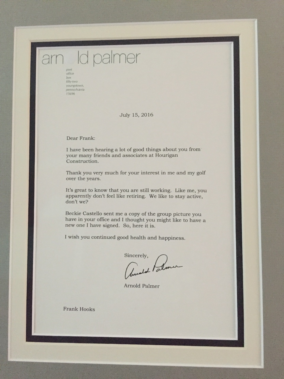 Frank Hooks Arnold Palmer