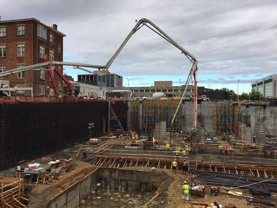pile cap pour construction site at VCU Health Adult Outpatient Facility