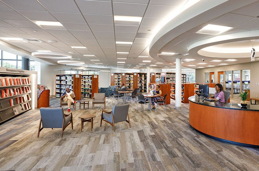 interior of broad creek library showing the stacks