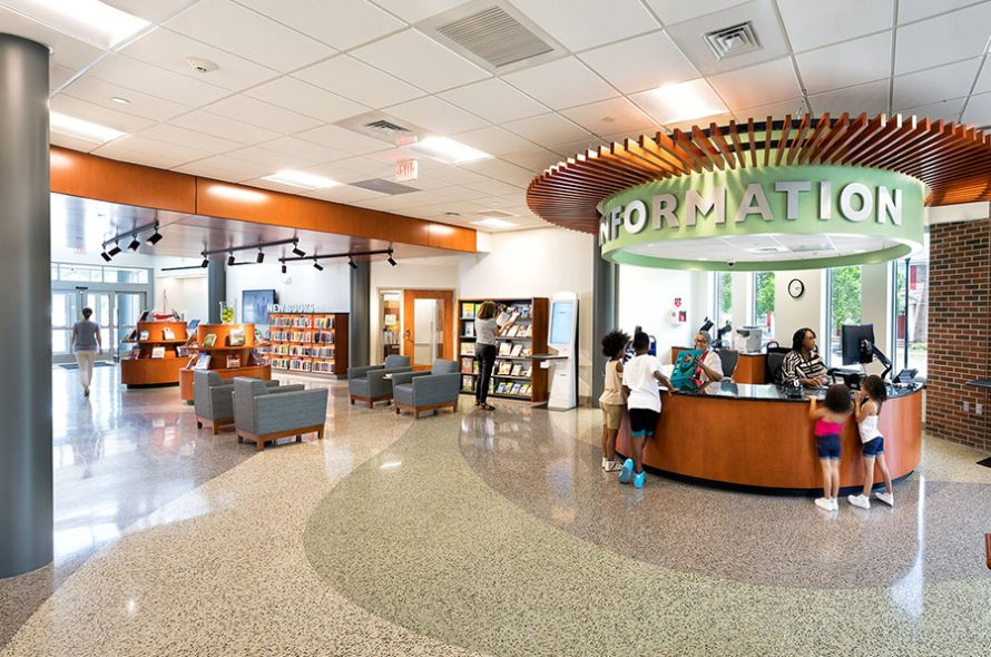 interior of broad creek library showing the information desk