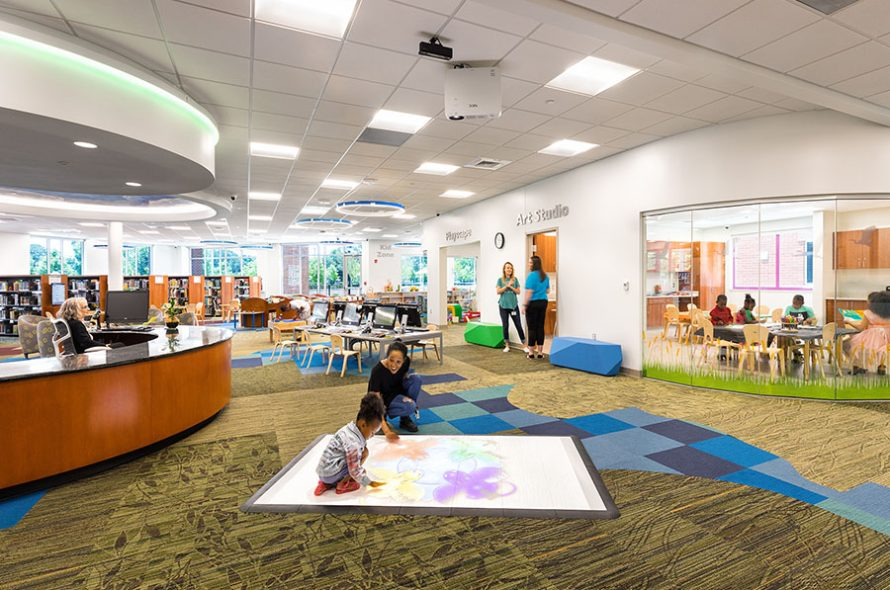 interior of broad creek library showing the children's area