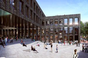 code rendering of exterior courtyard