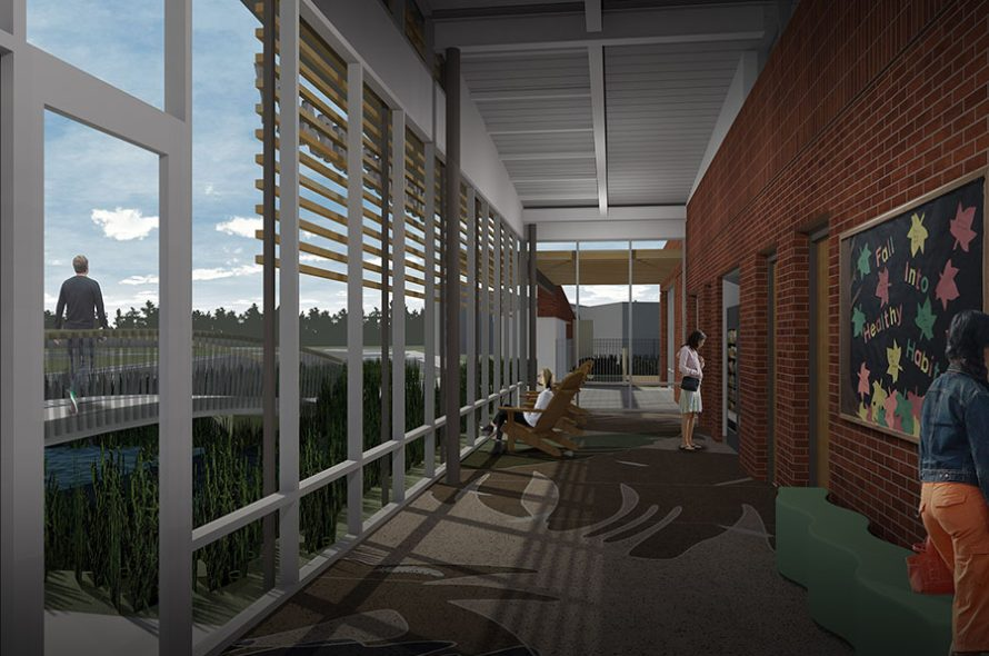 interior rendering of tucker library in norfolk