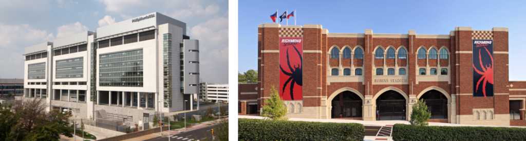 Photos of Philip Morris Center for Research and Technology and University of Richmond Stadium